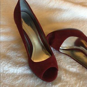 Women Style & Co. Red Peep Toe Suede Heel Sz. 6.5